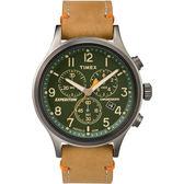 TIMEX 精準轉動三眼計時腕錶-綠x卡奇皮帶