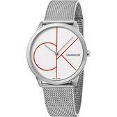 【即將漲價】Calvin Klein CK Minimal 經典大LOGO手錶-白x銀/40mm K3M51152