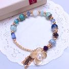 獨家設計 唯美花朵流蘇爆裂紋水晶串珠手環 手鍊