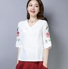 T恤 民族風女裝 v領繡花襯衣中國風寬松棉麻七分袖刺繡