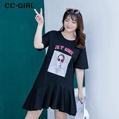 中大尺碼 魚尾裙擺印花T恤洋裝~共兩色 - 適XL~5L《 66377J 》CC-GIRL