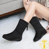 雪地靴女冬季保暖中筒防滑防水靴加絨加厚百搭棉靴【雲木雜貨】