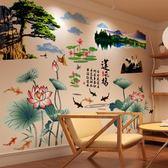高清風風景山水畫古風客廳房間牆面牆壁紙自粘牆貼紙貼畫裝飾品-享家生活館 IGO