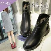 大尺碼女鞋-凱莉密碼-歐美大牌時尚經典款牛皮紋拉鍊平底短靴3cm(41-43)【BP618-5】黑色