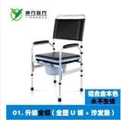 老人坐便椅子孕婦座便椅老年人折疊座便器坐便器(01升級全鋁 全塑PE板 沙發墊)