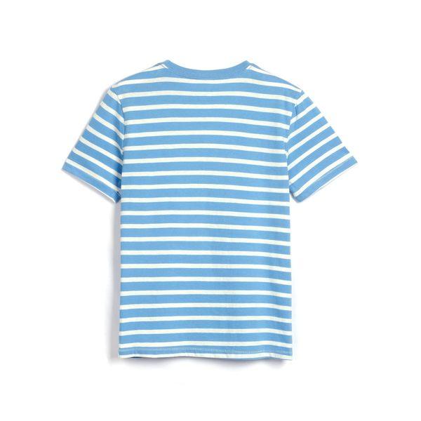 Gap男童 Logo條紋短袖T恤 466329-藍色條紋