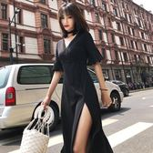(批發價不退換)8005#連身裙夏新款顯瘦v領開叉氣質長裙花邊拼接赫本小黑裙G-326-B日韓屋