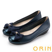 ORIN 甜美輕柔 雙水鑽圓釦環牛皮平底娃娃鞋-藍色
