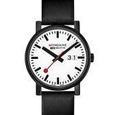 黑與白系列大日期腕錶/30mm (66911SK)  Mondaine 瑞士國鐵錶