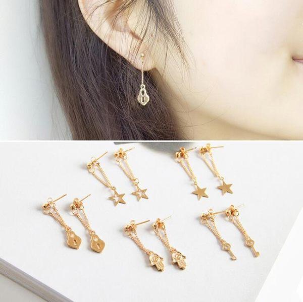 韓版 日韓 原創 個性 簡約 氣質 幾何 幸運 手 星星 愛心鎖 鑰匙 耳釘 耳環 女孩