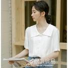 短袖襯衫 白色襯衫女設計感小眾夏季薄款V領襯衣復古法式短袖上衣 16【快速出貨】
