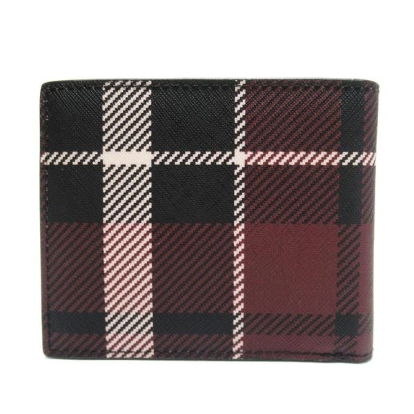 MICHAEL KORS 紅色拚黑色格紋PVC二折短夾 【二手名牌 BRAND OFF】