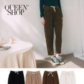 Queen Shop【04101301】素色燈芯絨抽繩休閒長褲 四色售*現+預*
