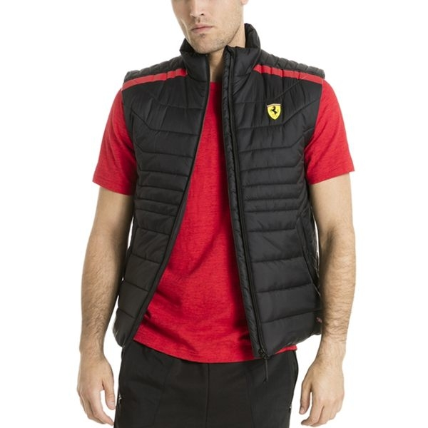 Puma 背心 Ferrari 男 黑紅 運動背心 羽絨背心 法拉利 保暖 運動 休閒 賽車服飾 背心 76224102