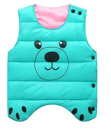 男Baby男童裝輕便型羽絨棉背心蘋果綠色可愛熊熊印花羽絨棉背心現貨