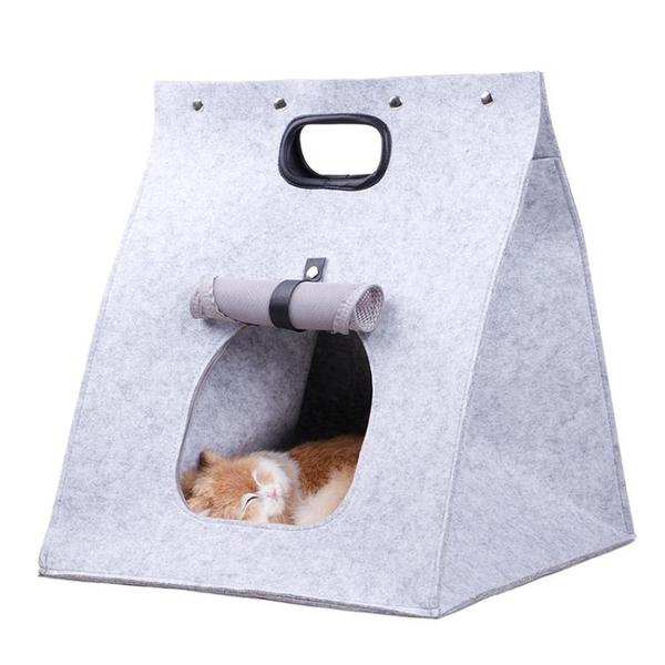 可拆洗折疊透氣貓窩狗窩毛氈寵物 便捷手提貓窩【雲木雜貨】