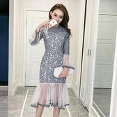 VK精品服飾 韓國風名媛氣質魚尾蕾絲長袖包臀網紗拼接顯瘦長袖洋裝