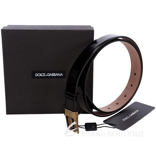 DOLCE & GABBANA 銅舊金屬頭亮面皮革腰帶(黑色) 1330085-01