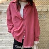 襯衫白襯衫女設計感小眾春裝2021新款玫紅色寬鬆鹽繫復古港味長袖襯衣 阿卡娜