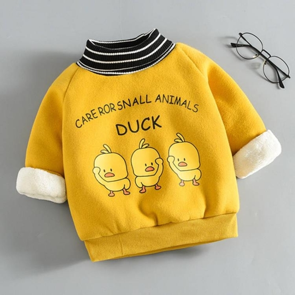 男童女童冬裝連帽T恤小黃鴨2019新款寶寶兒童加絨加厚打底衫上衣童裝  依夏嚴選