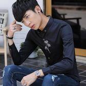 秋季個性刺繡男士長袖襯衫潮流韓版修身時尚繡花夜店薄款襯衣669    韓小姐
