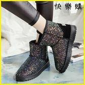雪靴-韓版加絨加厚短筒靴亮片棉鞋平底面包靴雪地靴