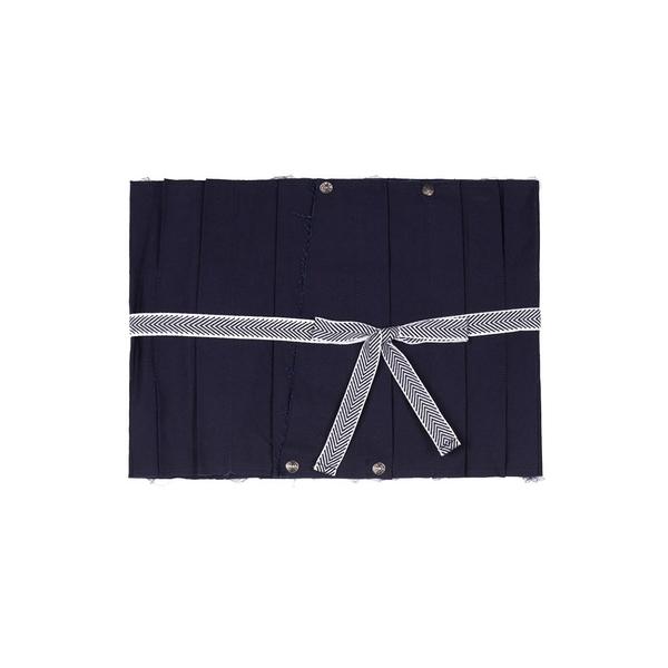 WHO CARES x Daniel Wong。不規則裝飾壓褶綁帶腰封 (深藍)