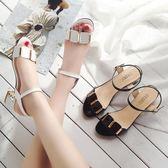 大尺碼女鞋新款女大碼43 42 41粗跟高跟時尚百搭露趾涼鞋女 mc9833『科炫3C』