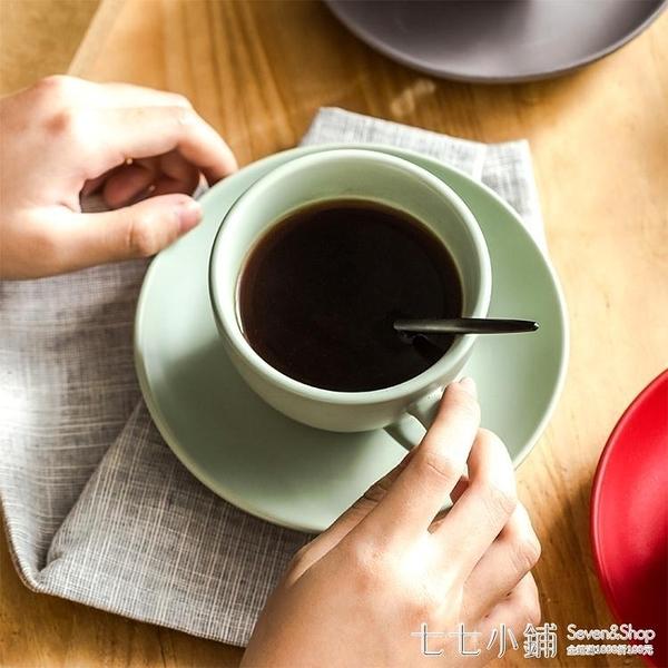簡約陶瓷咖啡杯帶碟勺套裝 創意歐式卡布奇諾意式拉花杯杯碟300ml