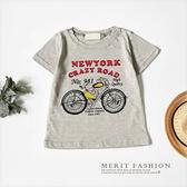美式復古摩托車字母T恤 竹節棉 舒適 短袖 上衣 短T 男童 童裝 美式 復古 棉質 哎北比童裝