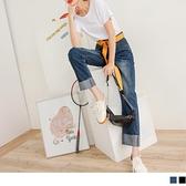 《KG1052-》高含棉剪接造型反折牛仔長寬褲 OB嚴選