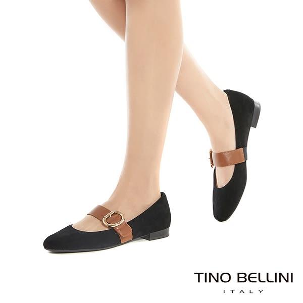 Tino Bellini素色麂皮寬帶小方頭瑪麗珍鞋_黑 B79248