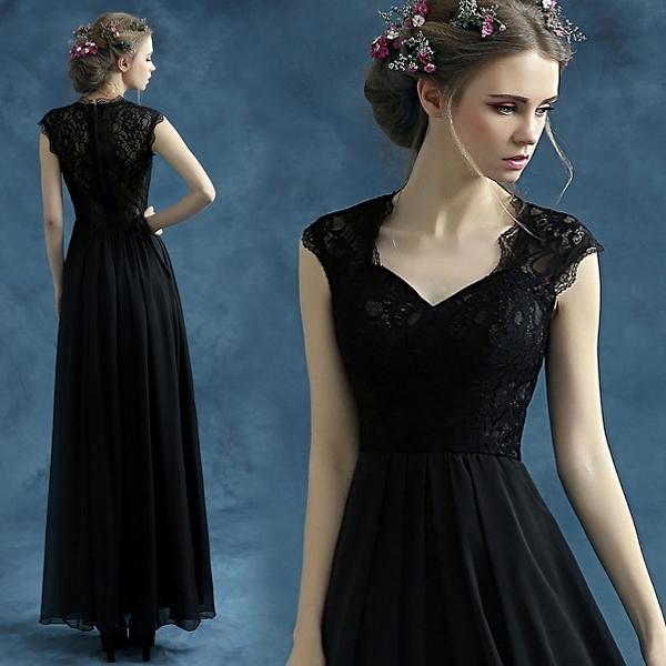 降價兩天 2020新款黑色透視露背晚宴宴會年會透視婚紗主持人演出禮服 10096