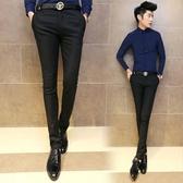 男士西褲2019夏季修身小腳商務休閒褲緊身青年職業黑色彈力正裝褲 超值價