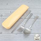 Lucuku鈦鑽環保餐具四件組純鈦筷子+鈦湯匙+鈦叉子+餐具盒-大廚師百貨