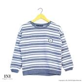 【INI】日常搭配、條紋簡單風格上衣.灰色