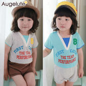 短袖連身衣 假兩件 美式運動風 男寶寶 爬服 哈衣 Augelute Baby 41134