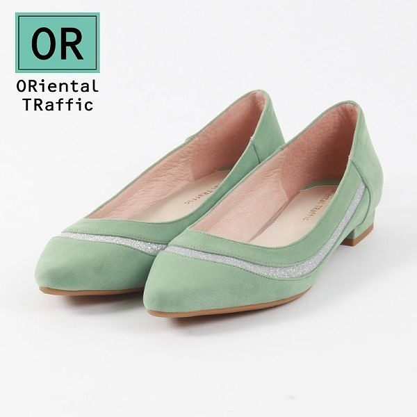 【ORiental TRaffic】金蔥異材拼接造型平底鞋 - 薄荷綠