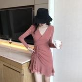 2019春裝新款亮片抽繩性感夜店V領修身長袖荷葉邊打底長袖連身裙