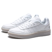 ADIDAS HOOPS 2.0 灰白 膠底 全白 皮革 休閒鞋 女 (布魯克林) EE7896