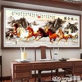 八駿圖十字繡2021新款線繡大幅客廳大氣家用山水畫馬到成功八匹馬 生活樂事館