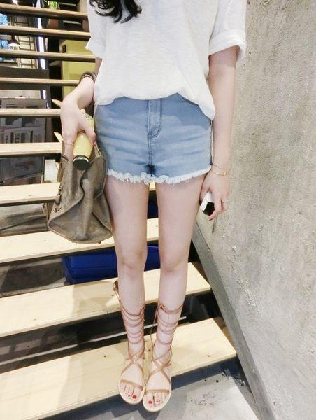 ZUCAS -  韓版高腰牛仔短褲百搭顯瘦彈力熱褲潮 牛仔褲 短褲 純色 鬚鬚 流蘇-A-1103