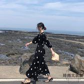 連身裙海邊度假長裙沙灘裙超仙復古波點【時尚大衣櫥】