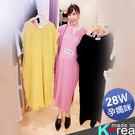 【HC4869】素色小V領口開衩竹節棉洋裝