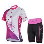 自行車衣套裝-含短袖腳踏車服+單車褲-修身吸濕透氣女運動服69u81【時尚巴黎】