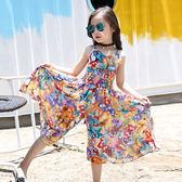 夏季童裝韓版女童休閑吊帶高腰碎花闊腿連體褲裙 js1229『科炫3C』