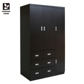 【LOHA】日式工業4X7尺四抽衣櫃/衣櫥 三色 多瓦娜胡桃色