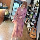 時尚甜美氣質連身裙新品秋裝新款V領綁帶修身網紗亮片蛋糕長裙女 最後一天85折