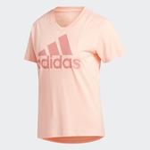 Adidas BOS LOGO 女裝 短袖 慢跑 訓練 T恤 拼接 透氣 弧形下襬 粉【運動世界】GK0314