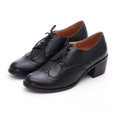 MICHELLE PARK 英倫時尚 經典復古雕花粗跟牛津鞋-黑色